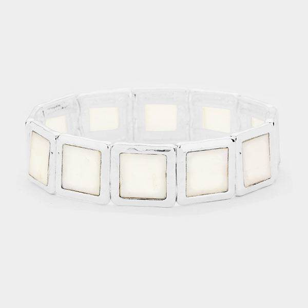 Abstract Square Natural Stone Stretch Bracelet