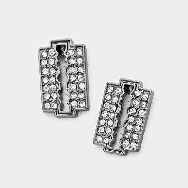 Razor Blade Rhinestone Stud Earrings