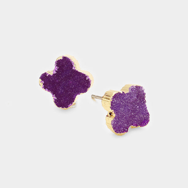 Quatrefoil Genuine Druzy Stud Earrings