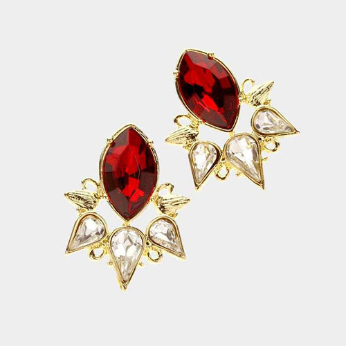 Marquise Crystal Evening Stud Earrings
