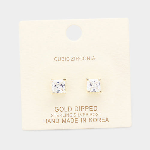 Gold Dipped 6mm Cubic Zirconia Square Stud Earrings