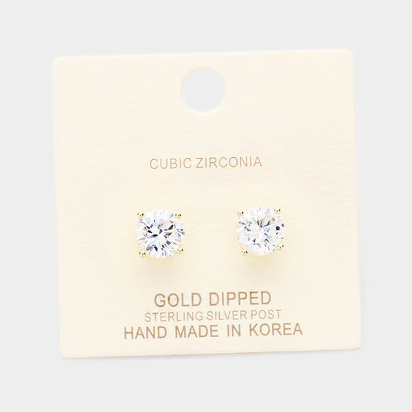 Gold Dipped 8mm Cubic Zirconia Round Stud Earrings