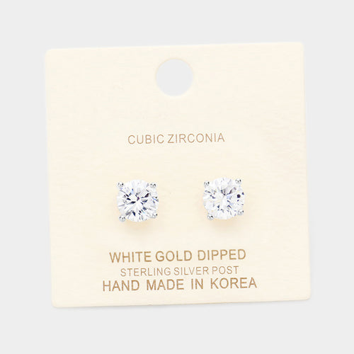 White Gold Dipped 8mm Cubic Zirconia Round Stud Earrings