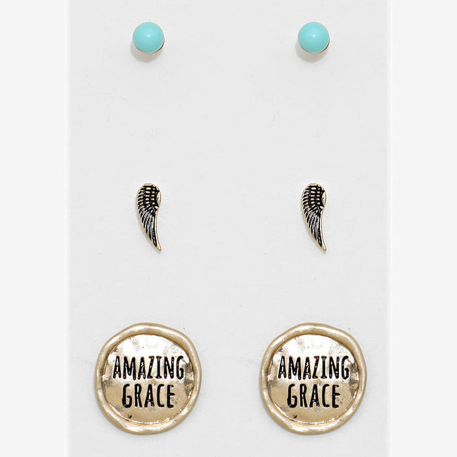 """Amazing Grace"" 3-pairs Wings Stud Earring Set"