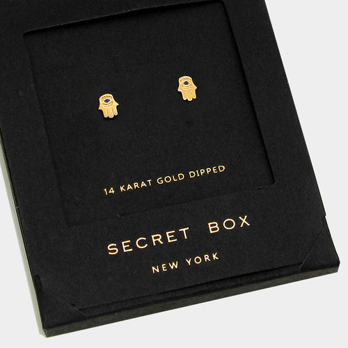 14k Gold Dipped Hamsa Stud Earrings With Secret Box