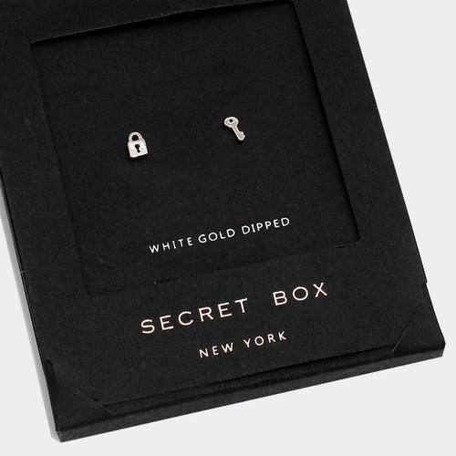 White Gold Dipped Key & Lock Stud Earrings With Secret Box