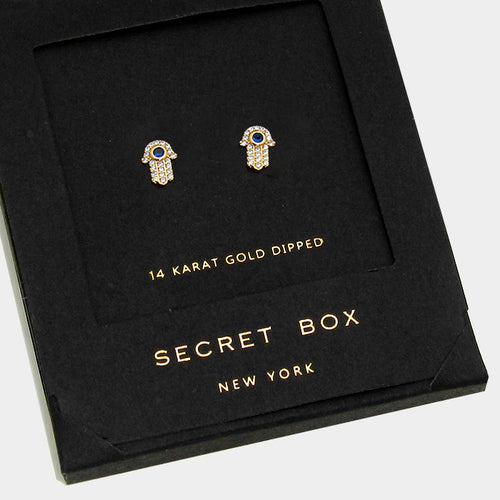 14k Gold Dipped Crystal Hamsa Hand Stud Earrings With Secret Box