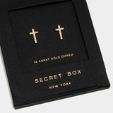 14k Gold Dipped Crystal Cross Stud Earrings With Secret Box