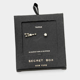Secret Box _ Cz Zodiac Sign Taurus Stud Earrings