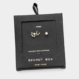Secret Box _ Cz Zodiac Sign Virgo Stud Earrings