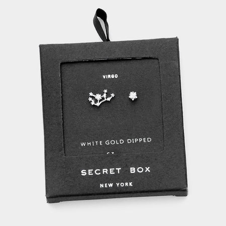 Secret Box _ Cz Zodiac Sign Pisces Stud Earrings