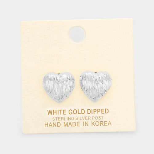 White Gold Dipped Heart Stud Earrings
