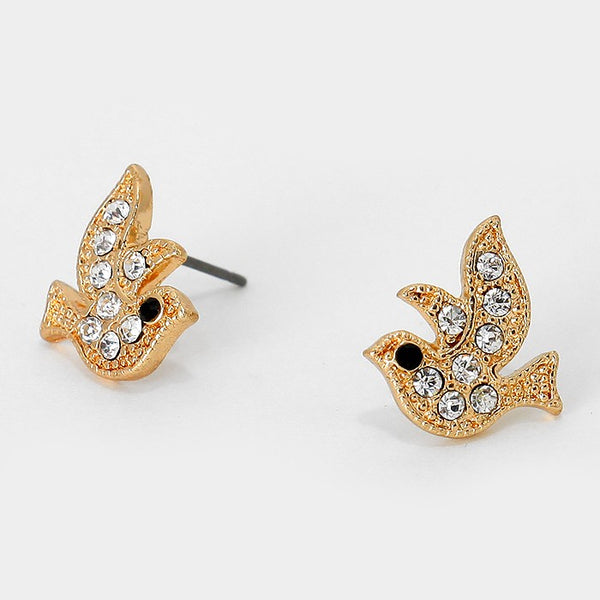 Crystal Bird Stud Earrings