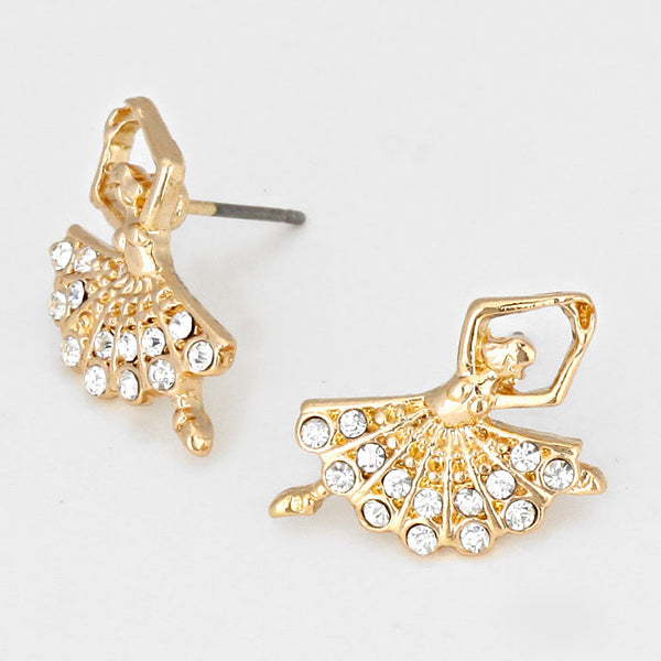 Crystal Accented Ballerina Stud Earrings