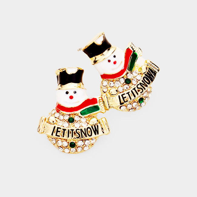 """Let It Snow"" Crystal Pave Snowman Stud Earrings"