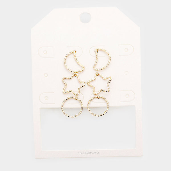 3pairs - Open Metal Crescent Moon Star Circle Stud Earrings