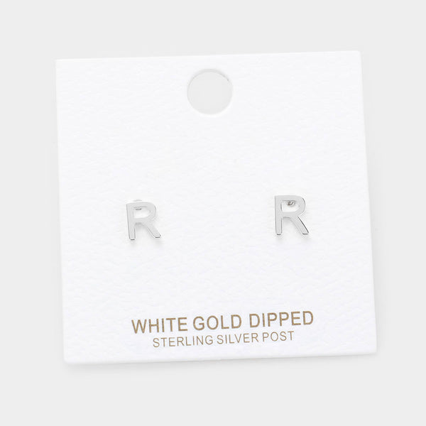 -r- White Gold Dipped Metal Monogram Stud Earrings