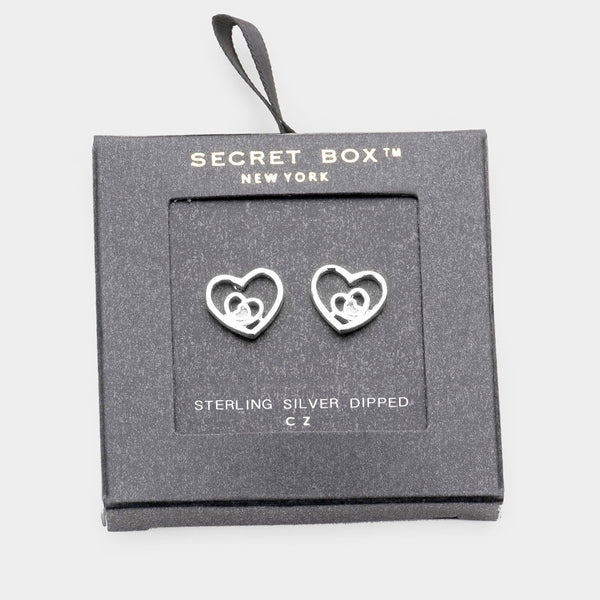 Secret Box _ Sterling Silver Dipped Cz Triple Metal Heart Stud Earrings