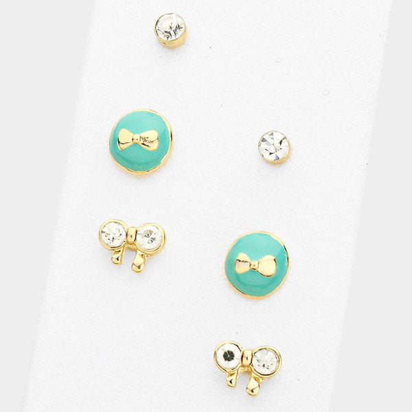 3 Pairs - Rhinestone & Enamel Bow Stud Earrings