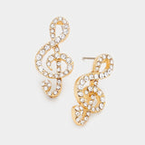 Crystal Pave Treble Clef Stud Earrings