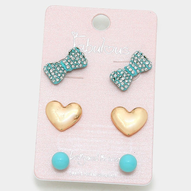 3 Pairs - Crystal Pave Bow & Metal Heart Stud Earrings