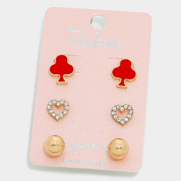 3-pairs Clover & Crystal Heart Stud Earrings