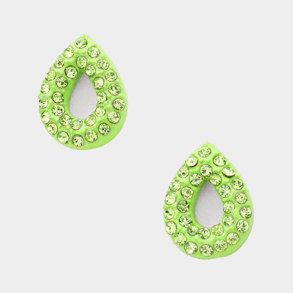 Double Row Crystal Teardrop Stud Earrings