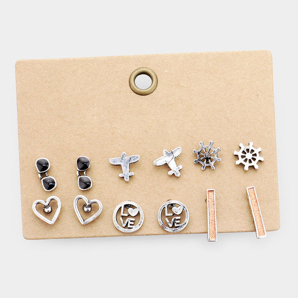 6Pairs - Burnished Metal Stud Earrings