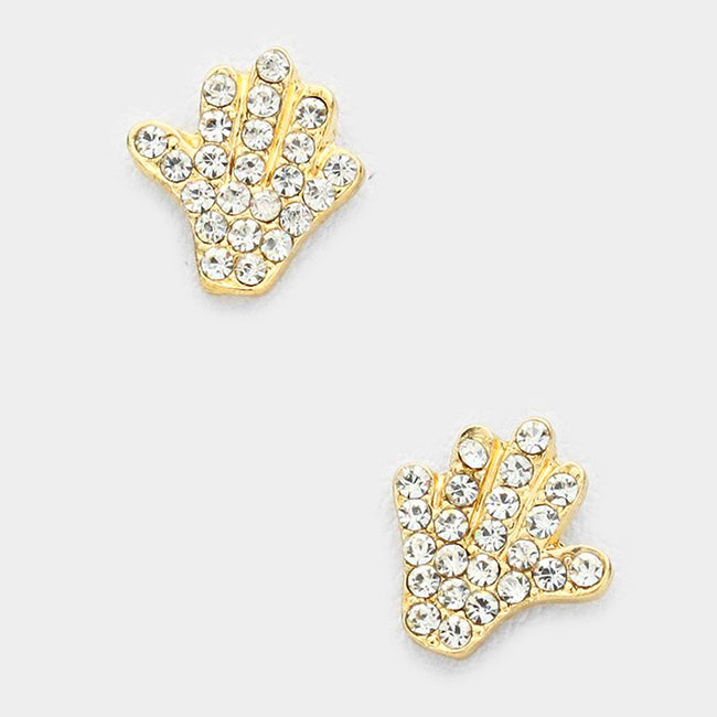 Rhinestone Pave Hand Stud Earrings