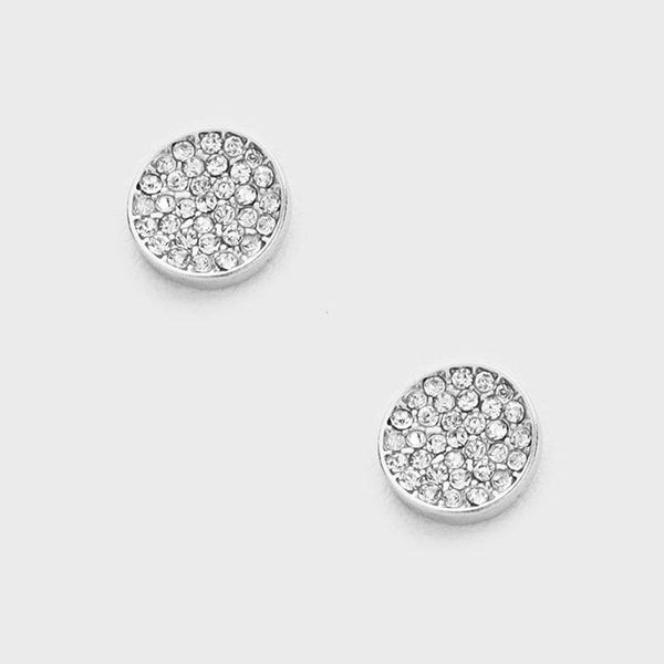 Round Disc Pave Stud Earrings