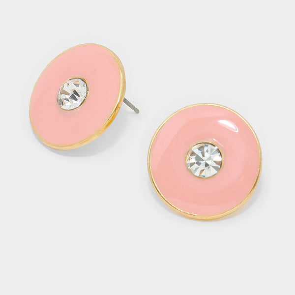 Crystal Detail Enamel Metal Stud Earrings