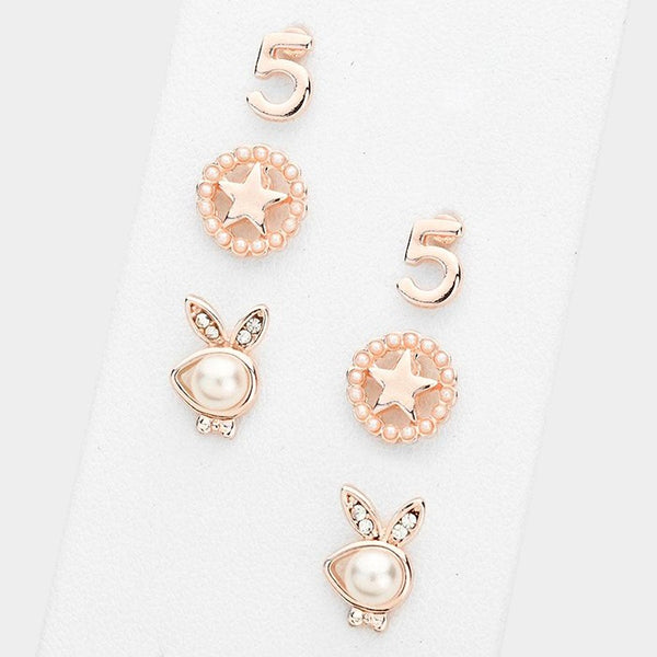 3 Pairs - Pearl Playboy Bunny & Star Stud Earrings