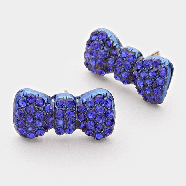 Rhinestone Pave Bow Stud Earrings