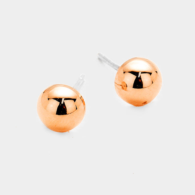 Gold Dipped Metal Ball Stud Earrings
