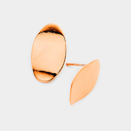 Gold Dipped Oval Metal Stud Earrings