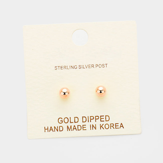4Mm Gold Dipped Metal Ball Stud Earrings