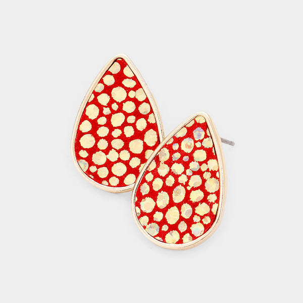 Genuine Sting Ray Leather Teardrop Stud Earrings