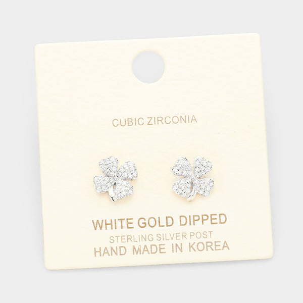 White Gold Dipped Cubic Zirconia Clover Stud Earrings