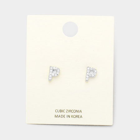 i Cubic Zirconia Monogram Stud Earrings