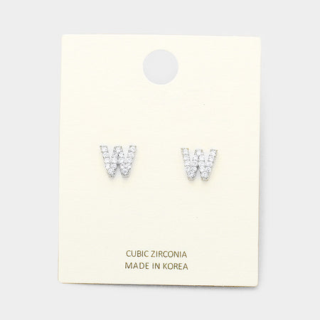 f Metal Monogram Stud Earrings