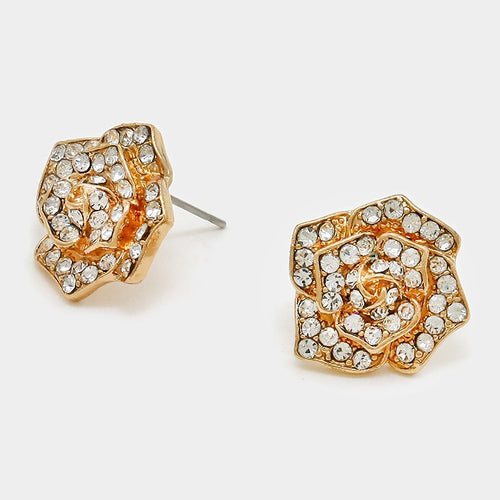 Crystal Pave Rose Stud Earrings