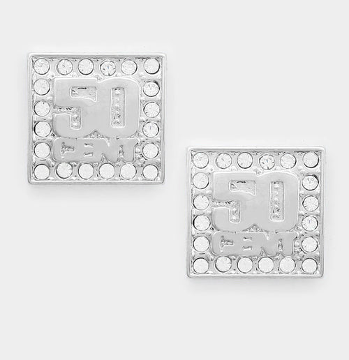"""50 Cent"" Crystal Metal Square Stud Earrings"