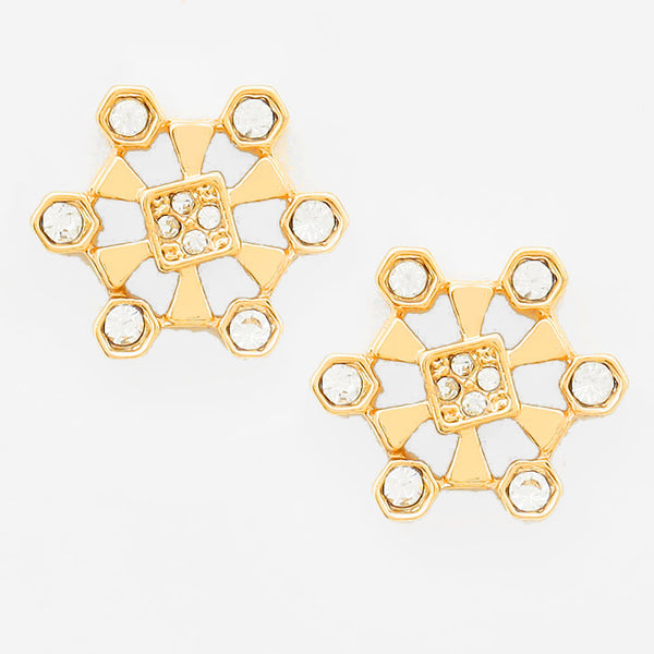 Crystal Metal Honey Comb Stud Earrings