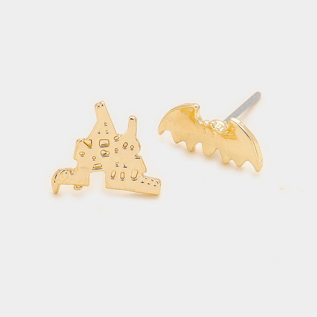 Metal With House Bat Stud Earrings