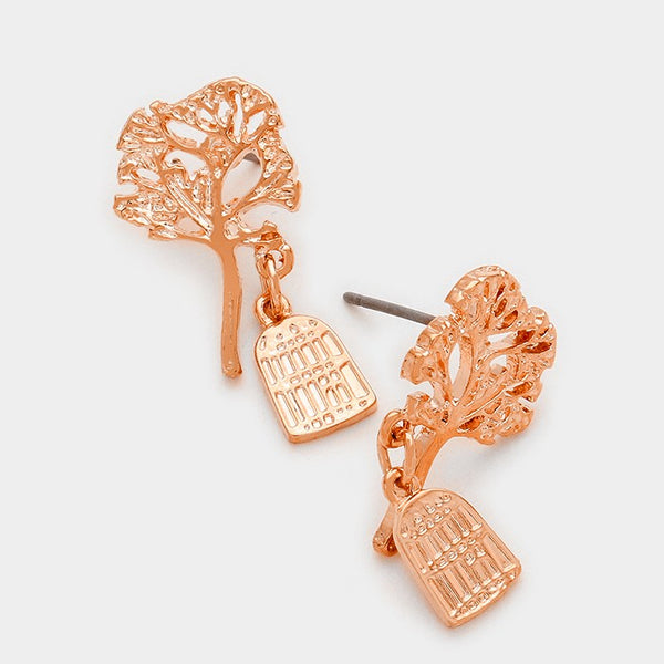 Bird Cage Dangle Tree Of Life Earrings