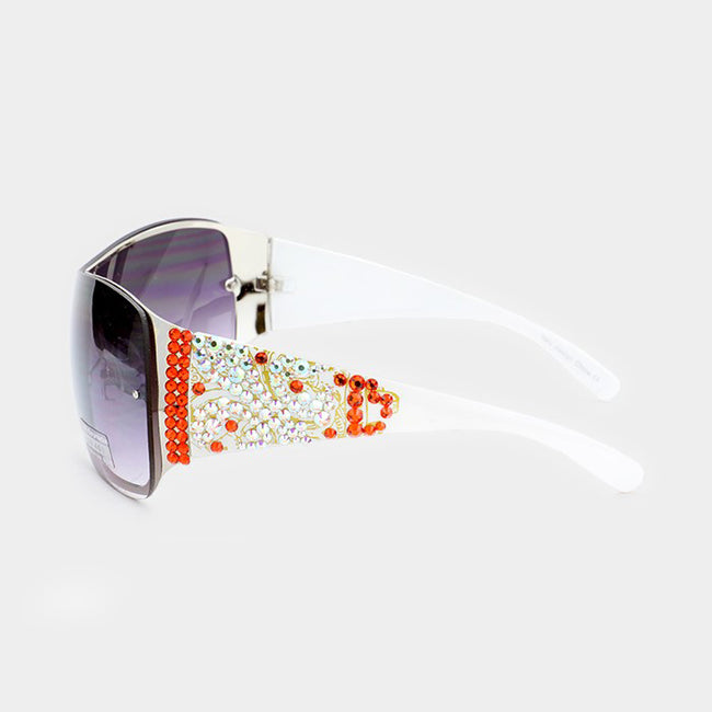 Crystal Embellished One Piece Sunglasses