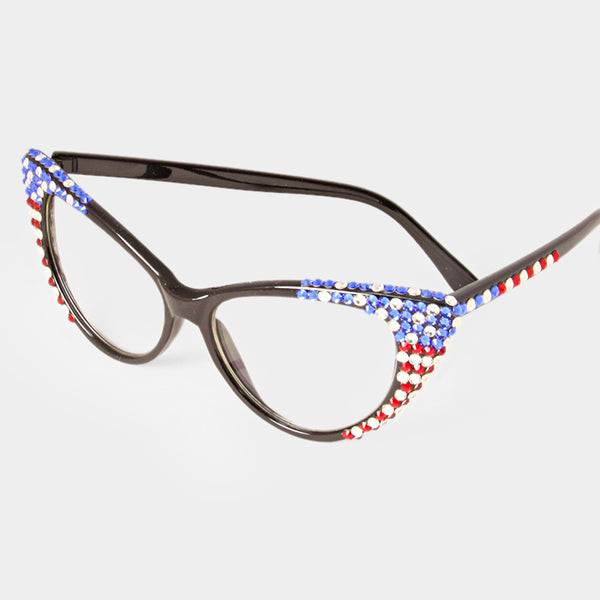 Crystal American Flag Cat Eye Optical Glasses