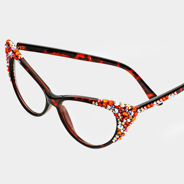 Orange Bubbly Cat Eye Uv Protection Optical Glasses