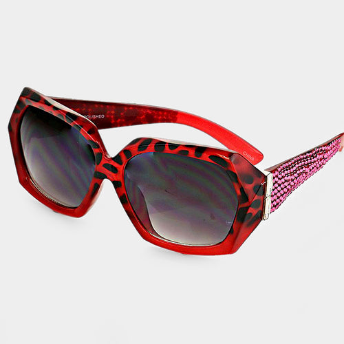 Crystal Accented Retro Sunglasses