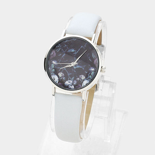 Floral Print Round Dial Faux Leather Strap Watch